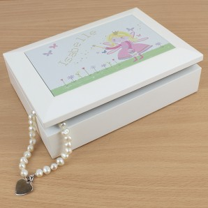Personalised White Wooden Fairy Jewellery Box - Image 1