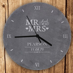 Personalised Mr and Mrs Slate Wall Clock - Image 1