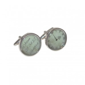 Name, Date, Location And Time Personalised Cufflinks - Image 1