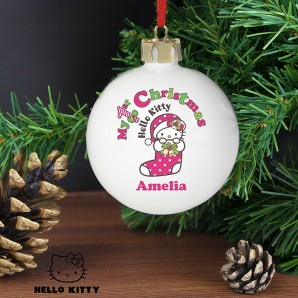 Personalised Hello Kitty 1st Christmas Bauble - Image 1