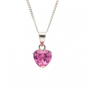 Pink Crystal Heart Pendant With Engraved Gift Case - Image 1