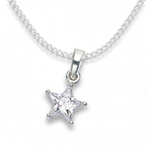 Crystal Silver Star Pendant With Engraved Gift Case - Image 1