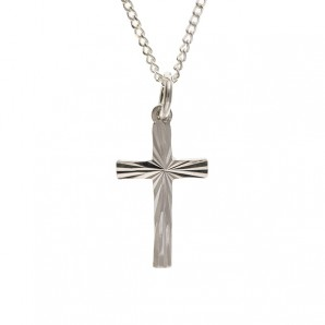 Tiny Silver Diamond Cut Cross and Chain - Image 1