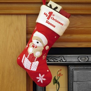 Personalised My 1st Christmas Teddy Bear Stocking - Image 1
