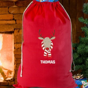 Personalised Red Reindeer Cotton Sack - Image 1