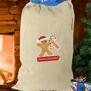 Personalised Gingerbread Man Cotton Presents Sack - Image 1