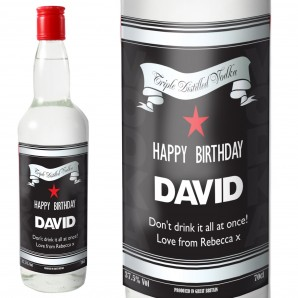 Personalised Classic Black & Silver Vodka Bottle Gift - Image 1