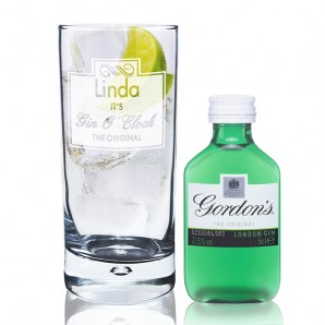 Personalised Gin O Clock Hi-ball Glass with Gin Gift Set - Image 1