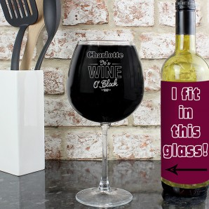 Personalised Wine O Clock Bottle Sized Wine Glass - Image 1