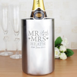 Personalised Mr and Mrs Steel Wine Cooler - Image 1