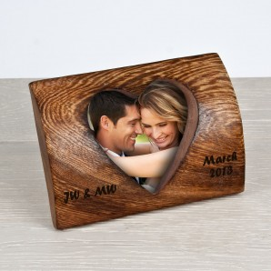 Personalised Rounded Wooden Heart Photo Frame - Image 1