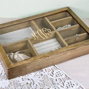 Personalised Wooden Monogrammed Jewellery Box - Image 1