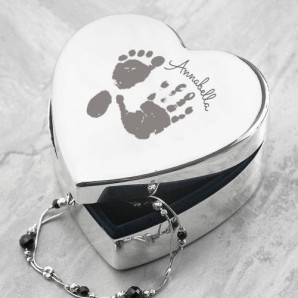 Engraved Handprint Heart Shaped Trinket Box - Image 1