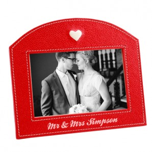 Personalised Red Leather Heart Photo Frame - Image 1
