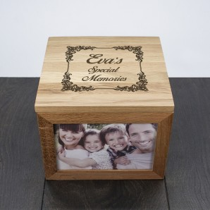 Personalised Vintage Design Oak Keepsake Box - Image 1
