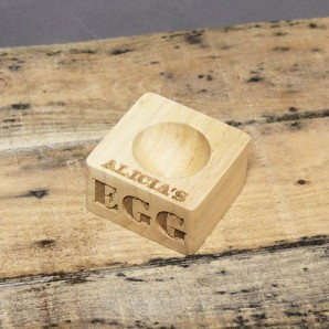 Personalised Carved Olive Wood Egg Cup - Image 1