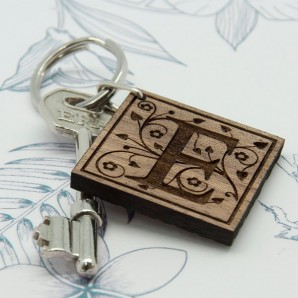 Engraved Swirl Initial Wooden Keyring - Image 1