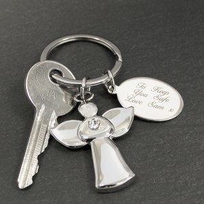 Personalised Crystal Angel Keyring - Image 1