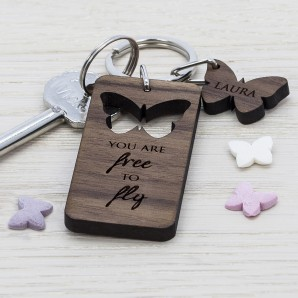 Personalised Butterfly Wooden Keyring - Image 1