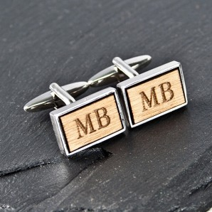 Silver and Walnut Rectangle Engraved Cufflinks - Image 1
