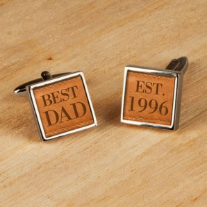 Leather Style Personalised Cufflinks - Image 1