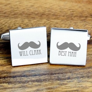 Moustache Engraved Cufflinks - Image 1