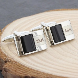Engraved Onyx Cufflinks - Image 1