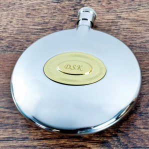 Gentleman's Brass Plate Engraved Hip Flask - Image 1