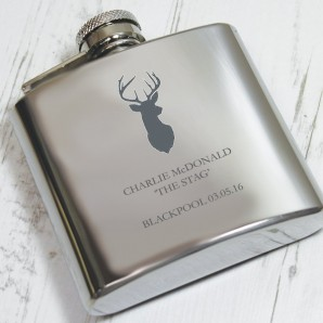 Stag Engraved Hip Flask - Image 1
