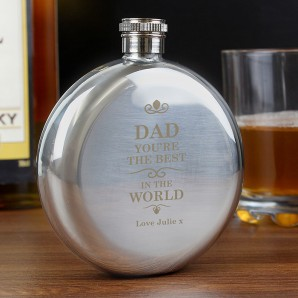Best In The World Round Engraved Hip Flask - Image 1