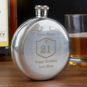 Whisky Label Round Engraved Hip Flask - Image 1