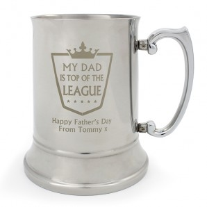 Personalised Steel Tankard, Top of the League - Image 1