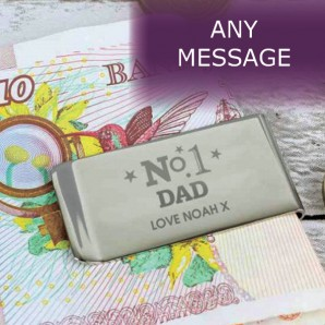No.1 Dad Engraved Money Clip - Image 1