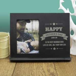 Personalised Slate Photo Frame - Fathers Day - Image 1