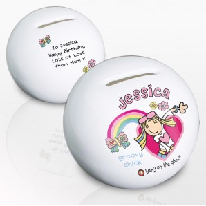 Personalised Groovy Chick Money Box - Image 1
