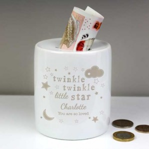 Twinkle Twinkle Personalised Girl and Boy Money Boxes - Image 1