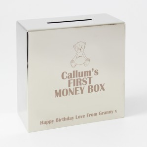 Personalised Square Teddy Money Box - Image 1
