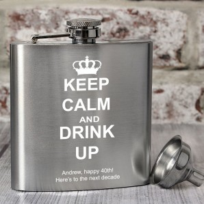 Personalised Keep Calm and Drink Up Hip Flask - Image 1