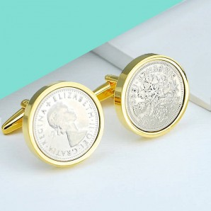 Genuine Polished Lucky Sixpence in Gold Plated Cufflinks - Image 1