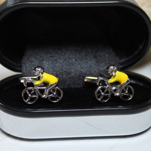 Cyclist in Yellow Jersey Cufflinks - Image 1