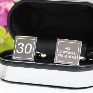 Engraved Birthday Cufflinks - All Downhill... - Image 1