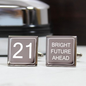 Engraved Birthday Cufflinks – Bright Future Ahead - Image 1