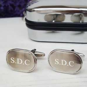 Personalised Oval Brushed Cufflinks - Image 1