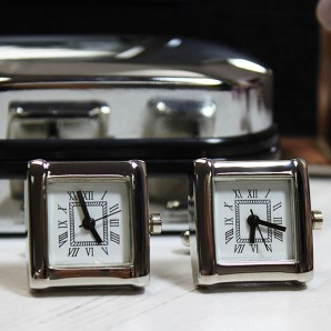 Square Clock Cufflinks In Personalised Case - Image 1