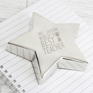 Best Teacher Engraved Paperweight - Image 1