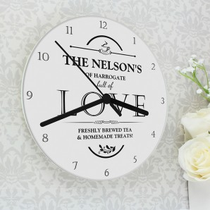 Personalised Full of Love Glass Clock - Image 1