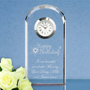 Engraved Happy Birthday Crystal Arched Clock - Image 1