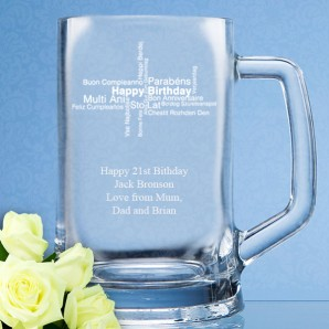 Engraved Happy Birthday Straight Sided Pint Tankard - Image 1