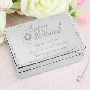 Engraved Happy Birthday Jewellery Box - Image 1