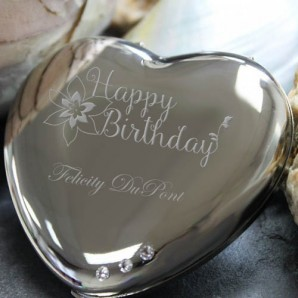 Happy Birthday Engraved Swarovski Heart Mirror - Image 1